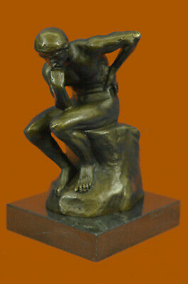 Elegant Bronze Marble Base Statue Rodin Rodin`s The Thinker Sculpture Art Deco