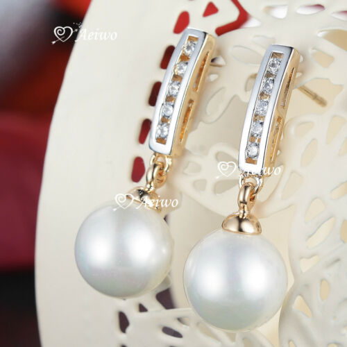 18K YELLOW WHITE GOLD GF CRYSTAL LADIES WOMEN IMITAION PEARL STUD EARRINGS