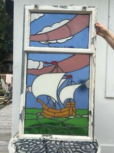 Image Is Loading Nautical Stained Gl Window Ship Sea Period Old