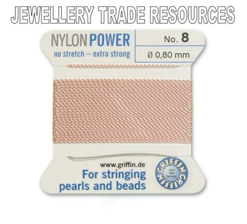 LIGHT PINK NYLON POWER SILKY THREAD 0.80mm STRINGING PEARLS /& BEADS GRIFFIN 8