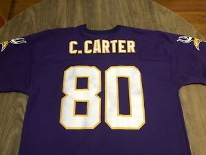reputable site 7e33b bf411 Details about Vintage 90s Cris Carter Minnesota Vikings Purple XL NFL  Football Jersey