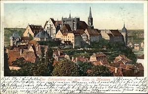 Meissen-Meissen-Sachsen-1902-Partie-Schlossberg-Dom-Kirche-AK-n-Rumburg-gelauf