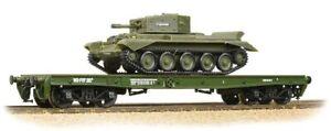 Bachmann-38-725-Warflat-Bogie-Flat-Wagon-WD-Khaki-Drab-with-tank-BNIB