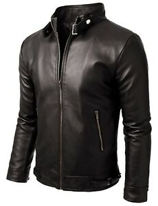 9b173911d1e Noora Men s Pure Leather Jacket CUSTOM MADE STYLISH LEATHER Slim Fit ...