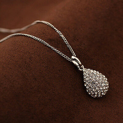 Women Fashion Gold Silver Plated Crystal Pendant Long Chain Statement Necklace