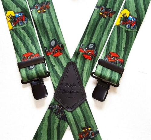 """Mens Braces Heavy Duty 1.5/"""" or 2/"""" Tractor Tractors Farmers Red Green Black Clips"""