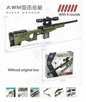AWM Sniper Rifle Gun Model Building Blocks Technic Bricks PUBG Military SWAT