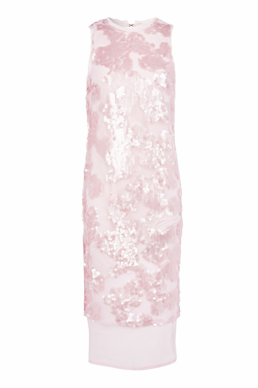 TOPSHOP Pink SEQUIN AIRTEX MIDI DRESS. STUNNING SEQUIN DRESS, RRP
