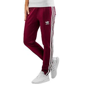Detalles de Adidas Originals Sst Superstar Track Pantalones de Entrenamiento Mujer Rojo Vino