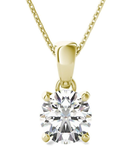 1-Ct-Solitaire-Round-Diamond-Pendant-Necklace-6MM-with-Chain-14k-Yellow-Gold-FN