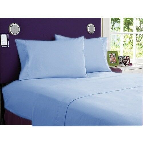 1000 TC Home Bedding Collection 100%Cotton Select Size & Item Sky bluee Solid
