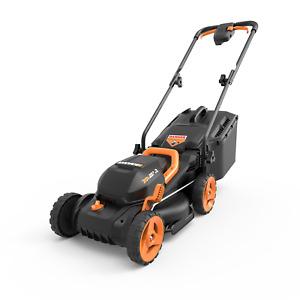 "WORX WG779 20V PowerShare 14"" Cordless Lawn Mower with Intellicut & Mulch Plug"