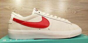 Nike-SB-Zoom-Blazer-Low-GT-White-Red-Leather-Skateboarding-704939-101-Size-9