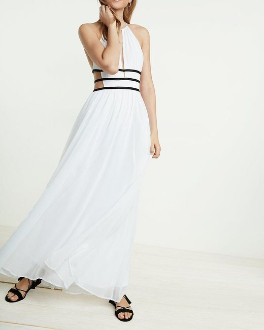 NEW EXPRESS WHITE STRAPPY CUT-OUT PLUNGE MAXI DRESS SZ XS EXRA SMALL