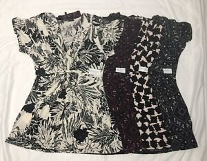 Daisy-Fuentes-Womens-Printed-Knot-Front-V-Neck-Top-Blouse-Sizes-XS-S-M-L-XL-NWT