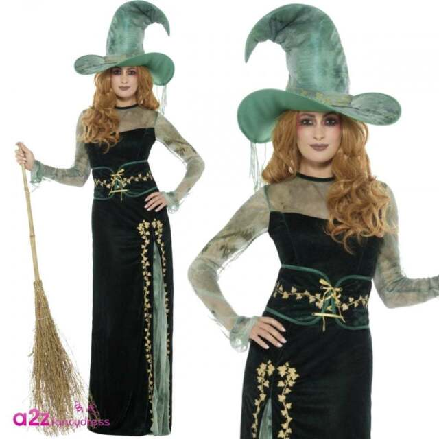 Deluxe Emerald Witch Ladies Fancy Dress Scary Green Halloween Adults Costume New