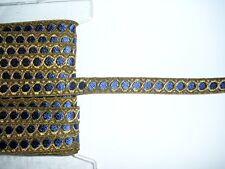 Brokat Borte 1 m lang 15mm breit königsblau-altgold Spitze Band  nähen basteln