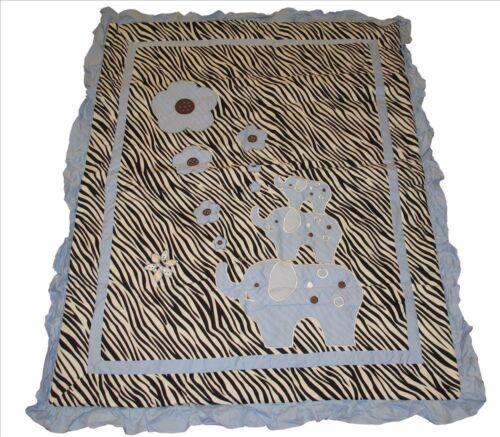 14 pcs Boy Girl Crib Bedding Set incl Baby Boutique Music Mobile Blue Zebra