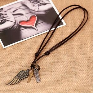 Vintage-Cool-Alloy-Pendant-Adjustable-Brown-Leather-Cord-Mens-Necklace-Chain