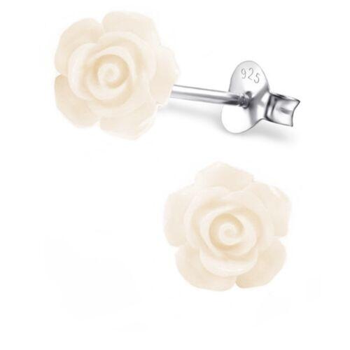 Creme Rosen Ohrstecker 925 Echt Silber Ohrringe Kinder Blumen Geschenkidee