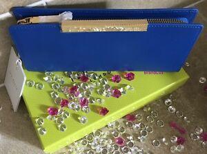 0c50f8e70 Ted Baker Blue Crosshatch Textured Bar Zip Leather Matinee Purse ...