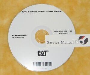 sebp3510 caterpillar 420d backhoe loader parts manual book cd ebay