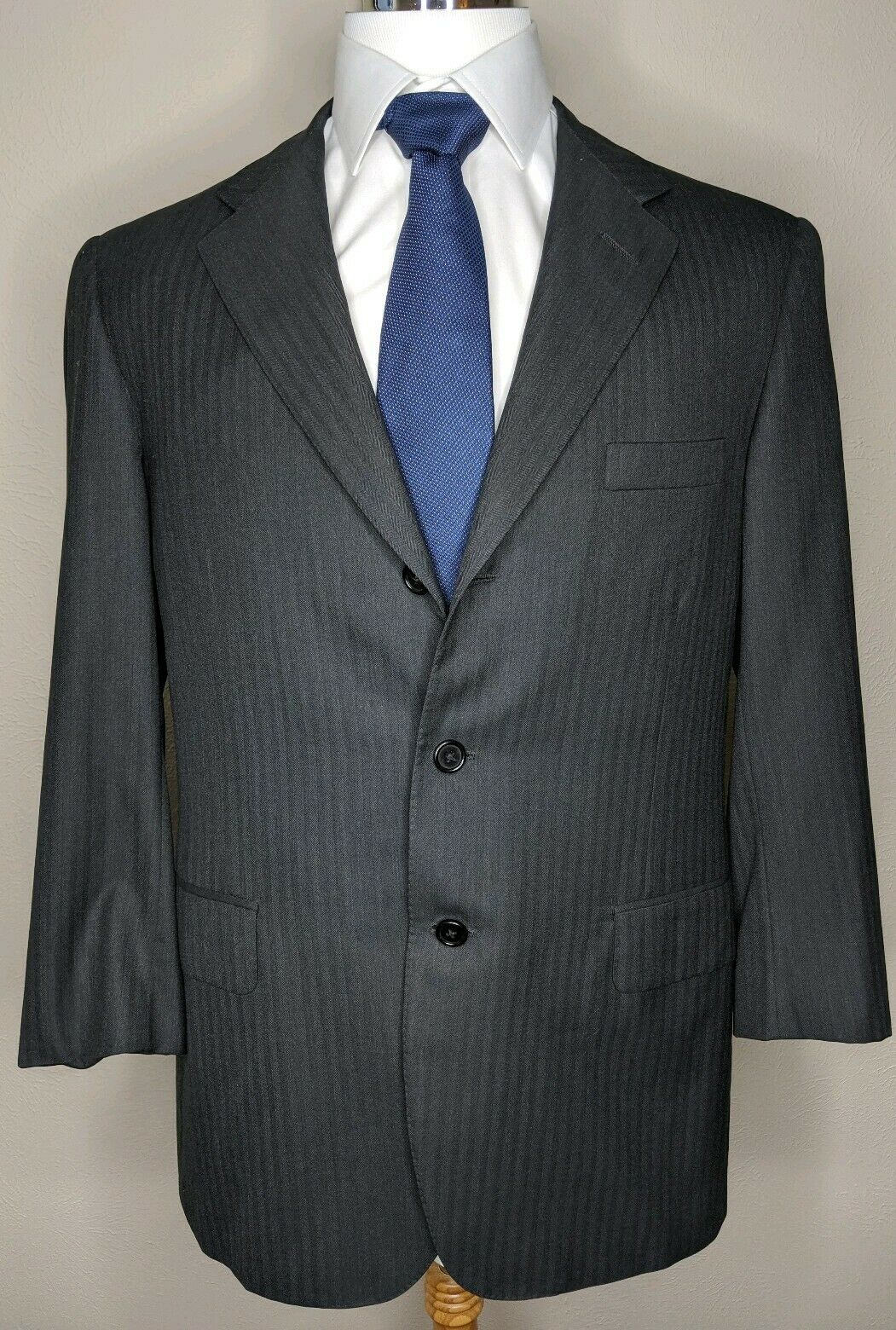 OXXFORD CLOTHES Renaissance Benjamin Charcoal Super 120s wolle3-Btn Suit Sz 42R