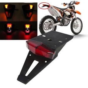 Enduro-Moto-Universel-Feux-Arriere-Frein-Garde-Boue-Support-de-plaque-Lampe