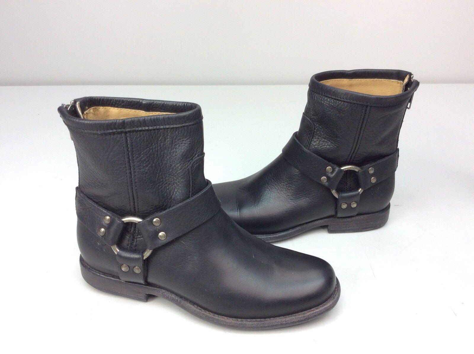 Frye Phillip Harness botas botas Harness Vintage Negro Cuero Suave Tamaño 6 B Moto Motocicleta 238b51