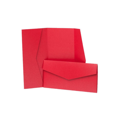 Bright Red Pearlescent Pocketfold Wallets with envelopes DIY Wedding Cards