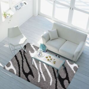 SALE-Modern-Rug-High-Pile-Shaggy-Living-Room-Black-White-Grey