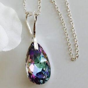 Swarovski-Elements-925-Silver-Crystal-Necklace-Pendant-Tear-Pear-Jewellery