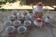 Service à café 70's pop vintage 1970 en porcelaine Bavaria orange mauve