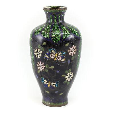 Japanese Cloisonne Vase, c.1900 Multicolored Butterfly Floral & Folial Design