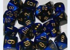 Chessex Dice Sets Gemini Black & Blue / Gold Ten Sided Die d10 Set 10 CHX 26235