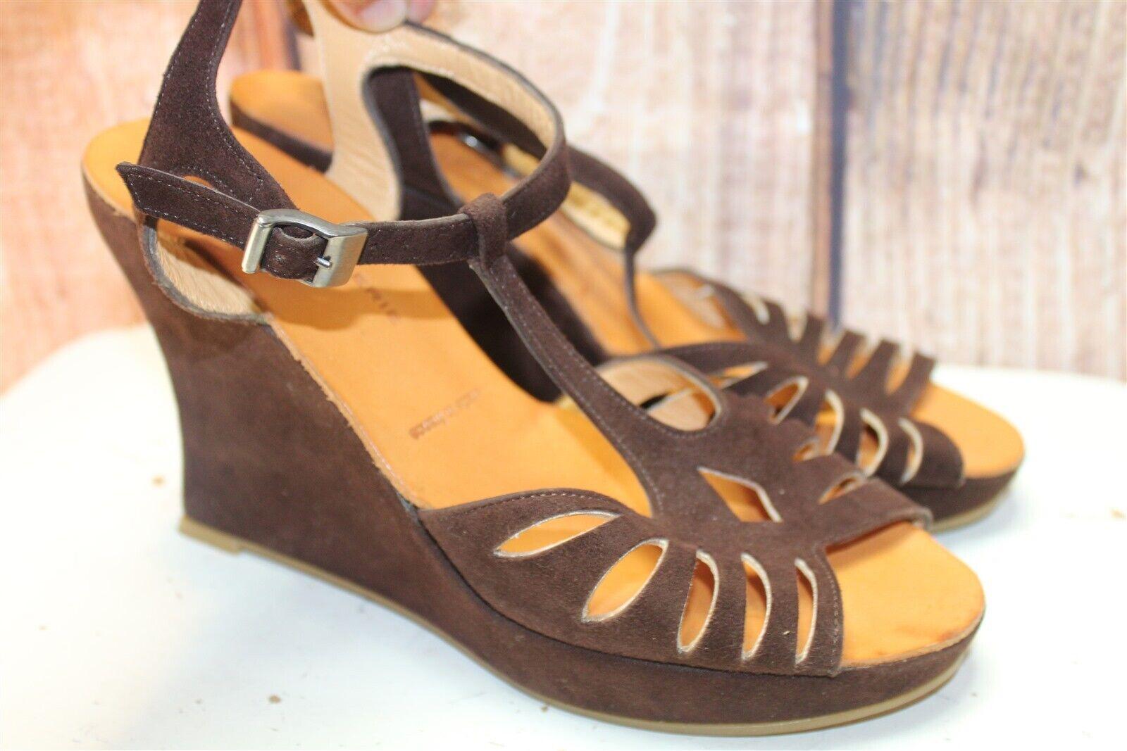Robert Clergrie Paris Brown Suede Wedge Sandals 7 B Women's shoes