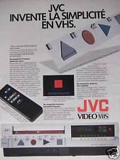 PUBLICITÉ MAGNÉTOSCOPE JVC INVENTE LA SIMPLICITÉ EN VHS