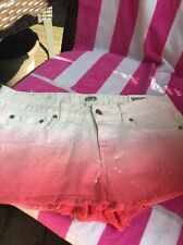 b0d4c36bdf8f6 Victorias Secret Pink Shorts Denim Holographic Sequin Bling Raw Cuff ...