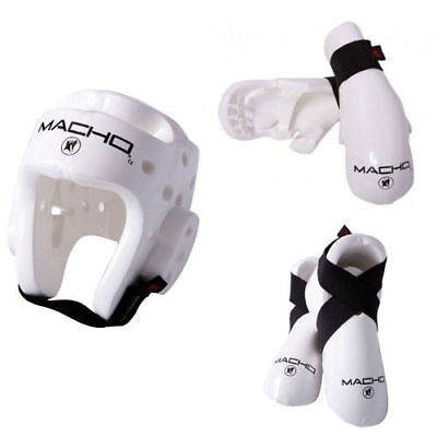 Macho Dyna White Sparring Gear Set Any Size WHITE 5 Piece Set