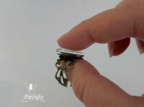 Bronze filigree adjustable ring blank with matching 13 x 18 mm oval glass dome