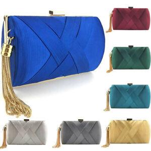 3d527f59fec0 Details about Women Fashion Tassel Clutches Evening Bags Handbags Wedding  Purse Minaudiere Bag