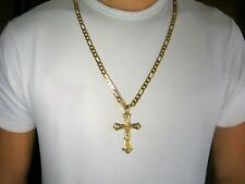 Men 30 inch Very solid 8mm chain 18k gold layered 52 gr Christ Cross necklace