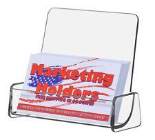 Clear acrylic high back business card holder display ebay clear single pocket gift card display business card holder w high back reheart Images