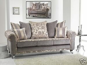 Image Is Loading Silver Grey Champagne Fabric Material 3 Seater 2