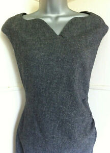 LK-BENNETT-black-amp-white-tweed-sleeveless-wool-mix-dress-sweetheart-neckline14VGC