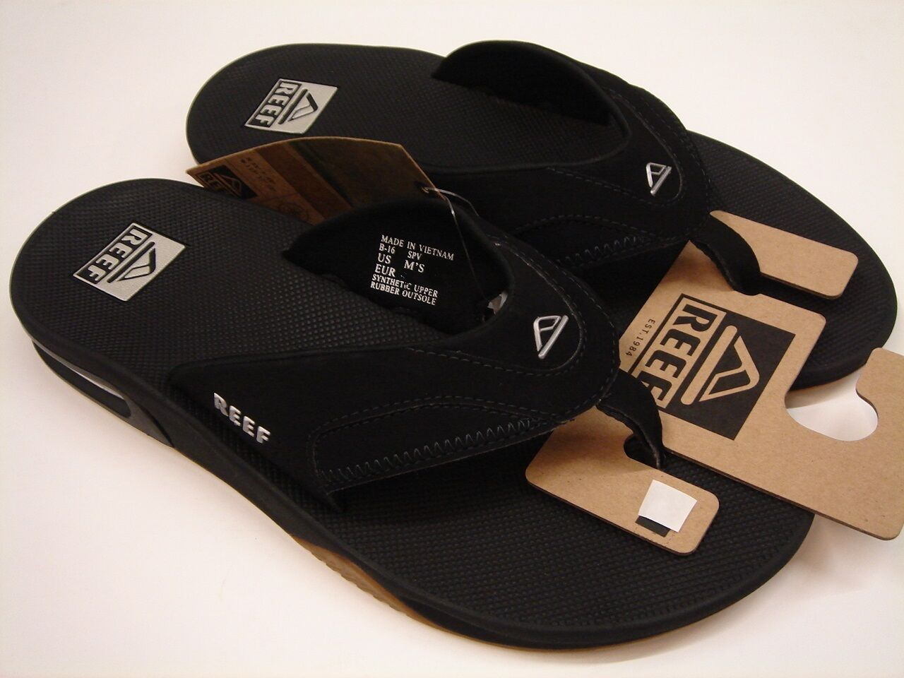 REEF BLACK  Herren SANDALS FANNING BLACK REEF SILVER SIZE 13 0931ae