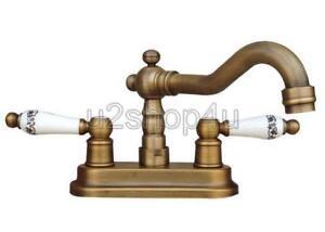 Antique Brass 4 Centerset Bathroom Sink Faucet Mixer Basin Tap