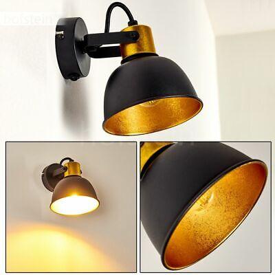 Retro Strahler Wand Lampe Schalter schwarz-Gold Wohn Schlaf Zimmer Leuchte Flur