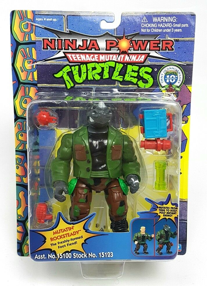 Antiguo   Rocksteady Mutatin Teenage Mutant Ninja Turtles Figura   Ninja Power