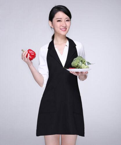 Lady Bib Tablier avec col poche solide chef Apparel Maid Gilet Workwear uniforme